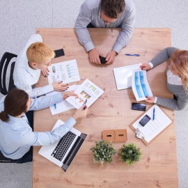Group of business people working together in office